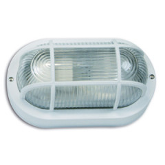 SK09110 Polycarbonate Wall bracket oval with grating white 60W