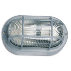 SK09112 Polycarbonate Wall bracket oval with grating grey 60W