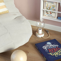 R8057730819190 Lamp de table E27 Bois Blanc Mini-Ufo 03P. câble 2m Jute RN06